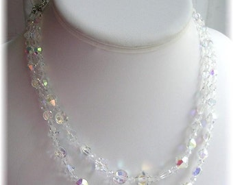 Vintage Crystal Rhinestone Choker Necklace AB Aurora Borealis Beads Double Stranded Elegant Necklace Wedding Prom Gala Event Jewelry