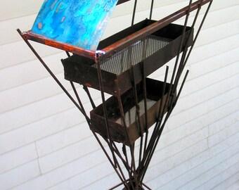 Sculptural Steel & Copper Bird Feeder No. 343 - Freestanding unique modern birdfeeder
