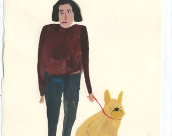 Girl and French Bulldog - Original gouache painting on paper