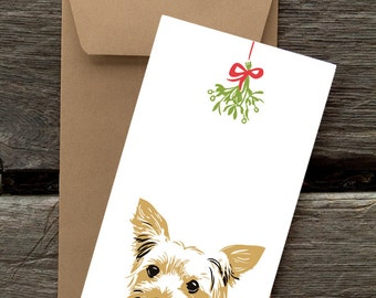 Yorkshire Terrier with Mistletoe -- 8 Blank flat cards and envelopes