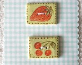 Set of 2 Rectangle Porcelain Clay Buttons with Painted Red Cherries and Strawberry