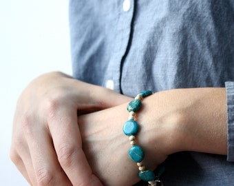 Blue Stone Bracelet . Earthy Jewelry . Aqua Terra Jasper Bracelet . Simple Everyday Jewelry . Howlite Bracelet - Mirage Collection