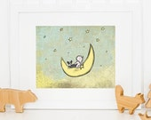 Boston Terrier Themed Nursery Art, Baby Girl and Boston Terrier Children's Art, Cute Boston Terrier Themed Artwork