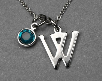 Initial necklace, Birthstone initial necklace, initial birthstone, birthstone jewelry, personalized jewelry, bridal jewelry, monogram charm