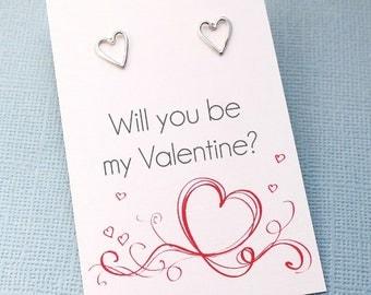 Heart Stud Earrings | Will You be My Valentine | Tiny Simple Post Earrings | Modern Petite Earrings | Sterling Silver | L07