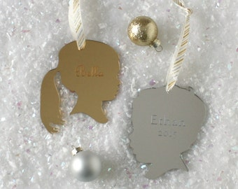 Custom Silhouette Mirrored Ornaments - Personalized with YOUR OWN Silhouette and Name