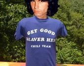 vintage 70s t-shirt good BEAVER CHILI team brenda funny iron-on lettering tee Small Medium soft wtf 80s