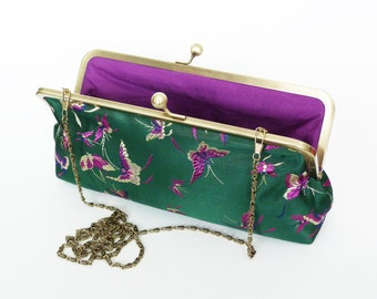Clutch bag, green purple and gold butterfly design, evening purse