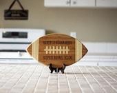 Custom Football Engraved Cutting Board, Personalized Football Cutting Board, Superboal gifts, Football Cutting Board, Bamboo Wood