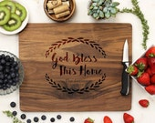 Personalized Cutting board, God Bless this Home, Custom Engraved Walnut wood, Kitchen Decor, Family Name, Housewarming Gift --21119-CUTB-002
