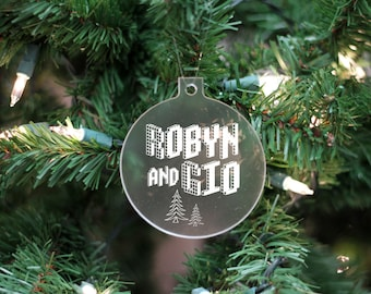 Custom Name Ornament, Couple's Name Ornament, Personalized First Christmas Ornament, Frosted White Name Ornament --24106-OR05-500
