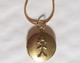Boy locket, grandson, announce the birth gold tone locket in raw brass and necklace 43cm gold tone chain