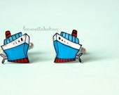 Ship cufflinks, nautical cufflinks, illustrated boats jewelry, gift for him