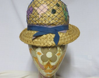 Vintage 50s Beach Hat Novelty Rockabilly Mid Century MCM Straw Bubble Bowler Derby Summer Fish Seaweed