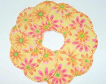 Pink and Orange Flower Make-up Remover Pads Washable Reusable Cotton Rounds, Ready to ship facial pads, cosmetic