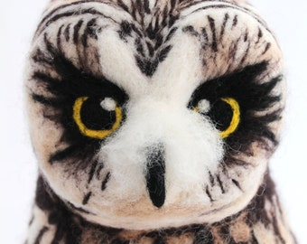 Needle Felted Short Eared Owl Art Doll Soft Sculpture, Felt Owl, Felt Bird