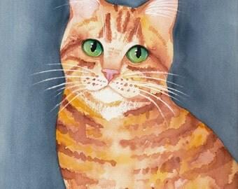 CAT Art Ginger Portrait Original Cat Watercolor Folk Art Painting