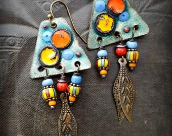Rustic, Enamel Earrings, Dangle Earrings, Tribal, Artisan Made, Vintage, Earthy, Organic, Beaded Earring