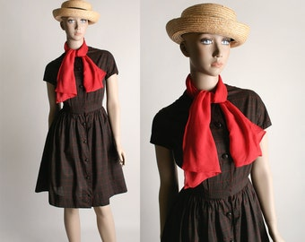 Vintage 1960s Lanz Dress - Chocolate Brown Plaid Cotton Shirtwaist Dress with Red Silk Pussy Bow - Small