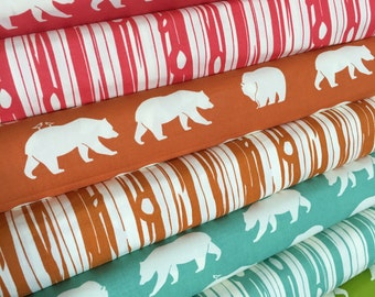 Organic fabric, Bear Camp fabric bundle by Birch Fabrics, Bear fabric, Bundle of 8- You Choose the Cut, Free Shipping Available