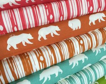 Organic fabric, Bear Hunt fabric bundle by Birch Fabrics, Bear fabric, Bundle of 8- You Choose the Cut, Free Shipping Available