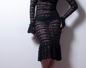 Black Lace Hobble Dress with Long sleeves-Made to Order