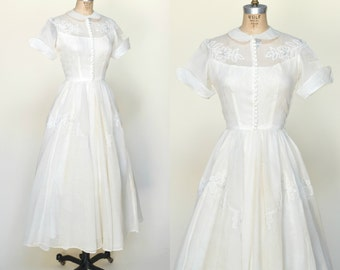 Vintage Tea Length Wedding Dress --- 1950s Cream Organza Dress