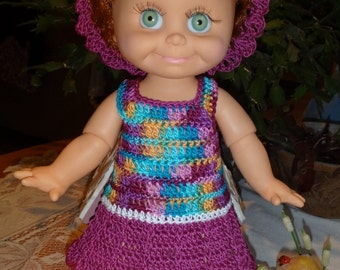 Crochet outfit 13 inch Galoob Baby Face Doll Dress Drop Waist Flared Skirt Thread Raspberry Blue Lavender White