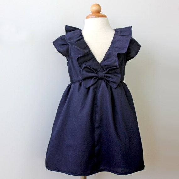Midnight Navy Dress for Toddler and Girl, Birthday, Flower Girl, Special Occasion