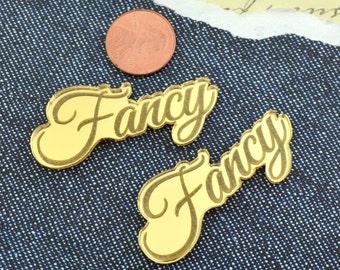 FANCY GIRL - 2 Gold Mirror Cabochons - Laser Cut Acrylic Cab