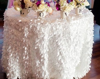Ivory LEAF Hanging Petal Ruffle Tablecloth Or Runner, Dessert Table, Cake  Table, Wedding