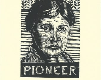 Willa Cather Author Linocut Print, Willa Cather Portrait, Linocut Block Print Illustration, Literary Art, Wall Art