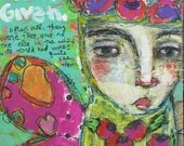 Use What You Have, Mixed Media Painting, Butterfly, Folk Art, Raw, Chic, Vintage Charm, Funky, Flowers, Outsider, Mystele