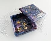 Galaxy Trinket Box, Handpainted Ceramic Box with Gold Lustre