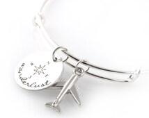 Wanderlust Bracelet - Airplane and Compass - Adjustable Bangle Bracelet