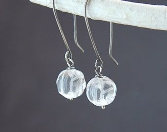 Clear Quartz Earrings Oxidized Sterling Silver April Birthstone Gemstone Jewelry Carved  Rock Crystal Earrings    Handmade Gift For Wome
