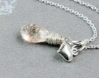 Sunstone Necklace Sterling Silver Heart Charm Necklace Golden Gemstone Jewelry Handmade  Sunstone Jewelry Stone Pendant Charm Pendant