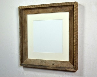 Eco friendly 12x12 reclaimed wood picture frame with mat for 10x10 or 8x8 photo or print