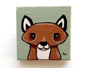 Fox Painting Miniature - Fox Tiny Art - Original Woodland Animal Wall Art Acrylic on Canvas 2 x 2 Inches Miniature Painting - Red Fox Decor
