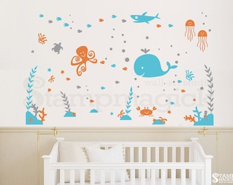 Under The Sea Wall Decal   Nursery   Under Water World Underwater Shark  Whale Octopus Crab Part 85