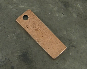 Antique Copper Stamping Blank Antiqued Rectangle Tag Oxidized Pendant Charm Pendant for Layering |NU3-7|XN