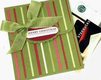 Christmas Gift Card Holder, Money Card, Gift Card Envelope, Holiday Tip Envelope, Holiday Bonus Card, Gift Card Packaging