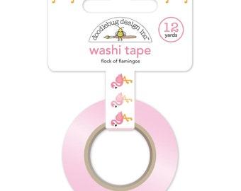 Flock Of Flamingos Washi Tape • Doodlebug Design Flamingo Tape (5213)