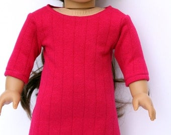 Fits like American Girl Doll Clothes - The Arrow Jewel Tone Collection, Sweater Dress in Fuchsia, Made To Order