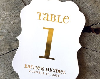 Gold Foil Unicase Table Numbers - Rose Gold Bracket Edge - Silver Vintage Cartouche Gold Copper  - Pink Gold Glam Gold on Black