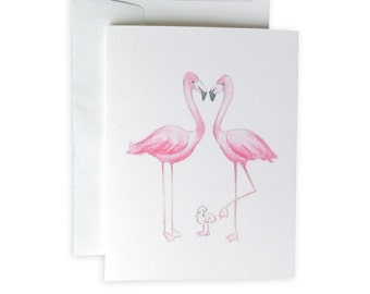 Flamingo Family Notecard Set
