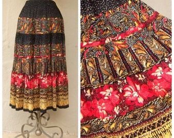 Carol Little gypsy skirt / red black yellow paislely flowers / fabric from Germany, rayon / womens 6 8 medium