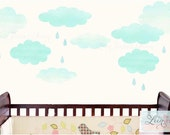 Clouds and Raindrops Wall Decals  • Colorful Reusable Wall Stickers • Pretty Aqua Blue Watercolor - Removable Eco Friendly Child Safe
