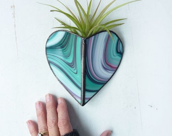 Air Plant Holder - Stained glass Heart Sconce -  Mint Magenta Psychedelic