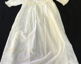 Vintage/Antique Christening Gown Dress with Lace Trim Off White